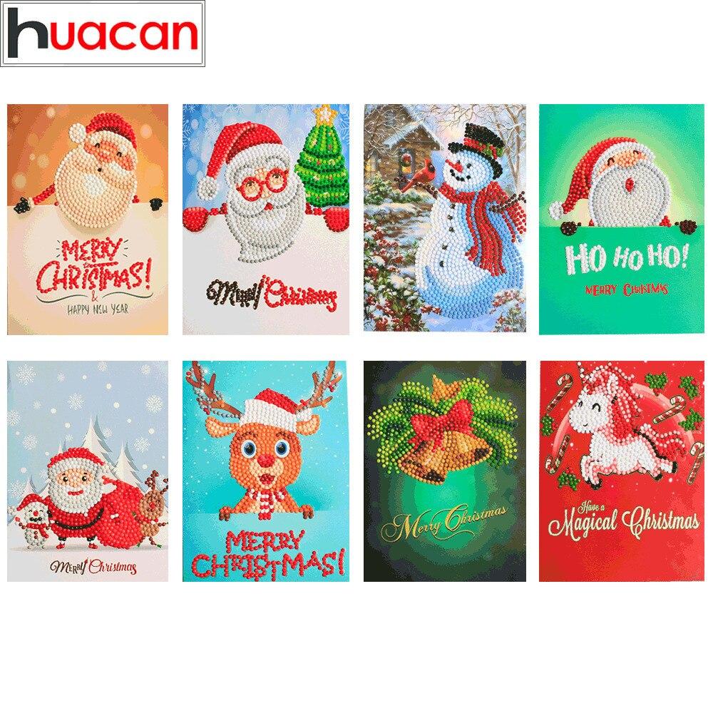 HUACAN diamante pintura dibujos animados Mini Santa Claus Feliz Navidad papel tarjetas de felicitación artesanía DIY niños Festival tarjetas de saludo