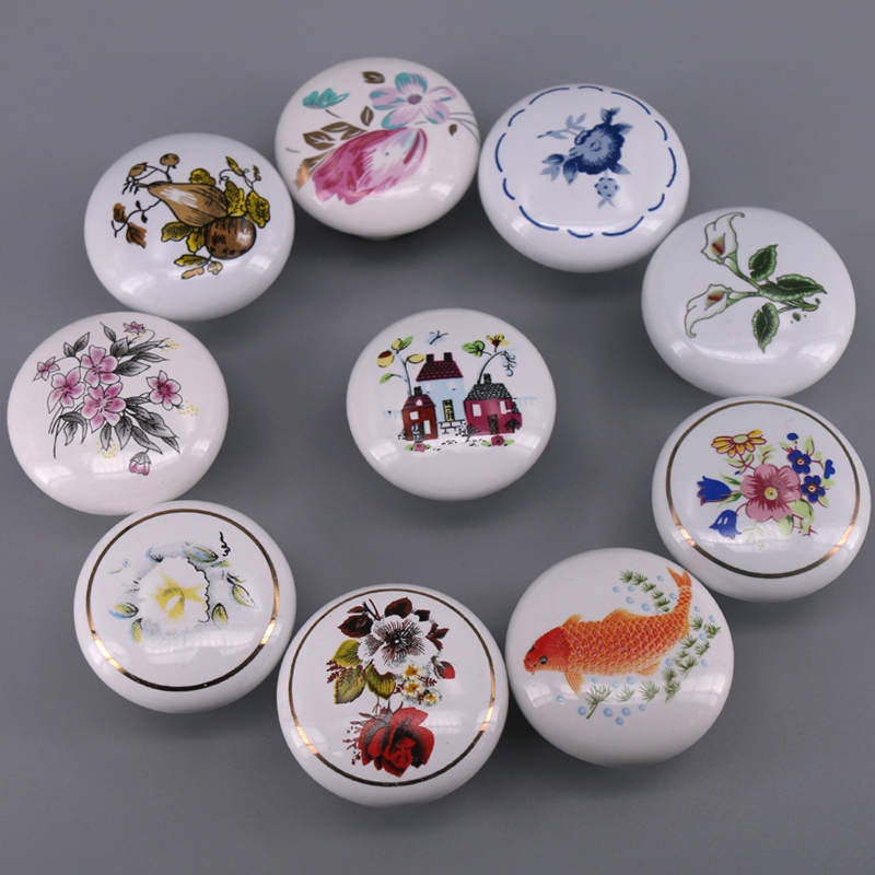 1x Pastoralism Ornate Floral/Fish Ceramic Cabinet Knobs And Handles Cupboard Door Drawer Kitchen Pull Knob Furniture Pulls