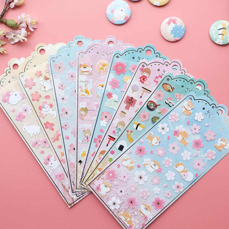 1 Pcs Kawaii Japan Style Sakura Oriental Cherry Blossom Diary Deco Scrapbooking PVC Material Masking Sticker Stationery Stickers