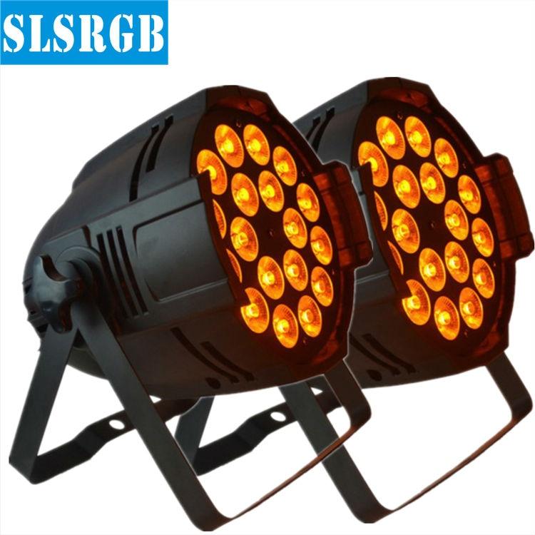 2pcs/lot Cheap 15W x 18pcs rgbwa 5-in-1 led par 64 dmx stage light led decoration light for wedding 18x15w 5in1 led wash par can