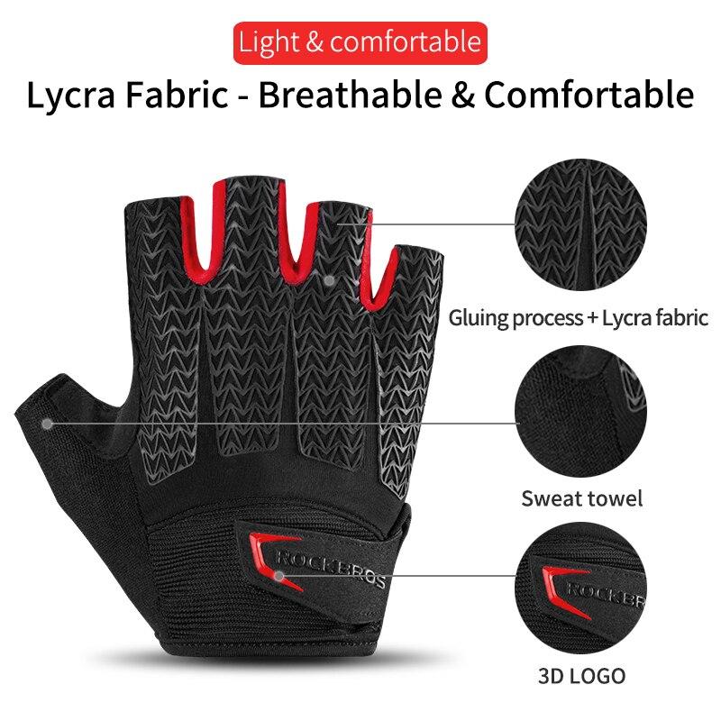 Unisex Men Shockproof Cycling Gloves Bike Padded Faux Leather Half Finger Gloves