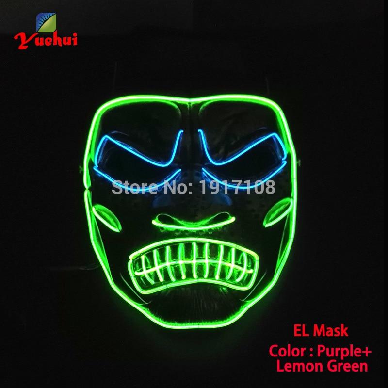 새로운 EL 철사 Halloween 가면 분노 LED 번쩍이는 철사 축제 LED Neon 빛나는 가벼운 댄스 DJ Carnival Party Masks Decoration