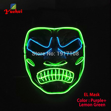 New EL wire Halloween Mask anger LED Flashing EL wire Festival LED Neon Glowing light dance DJ Carnival Party Masks Decoration