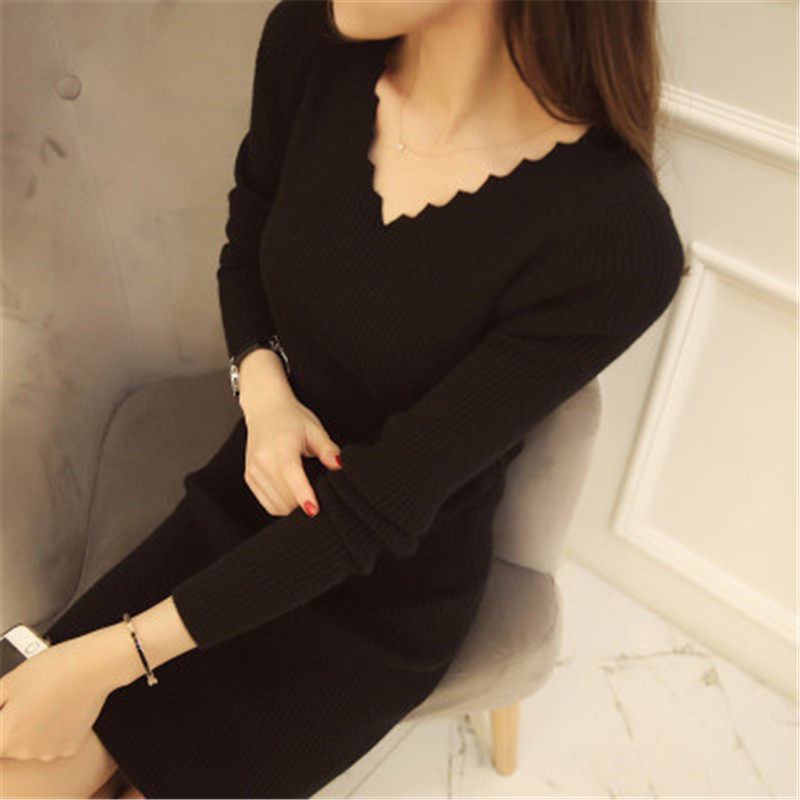 Women Sexy Sweater Dress Autumn Winter Fashion V Neck Bodycon Basic Mini Solid Color Knitted Dress Pullover Maxi Dress ZY2781 3