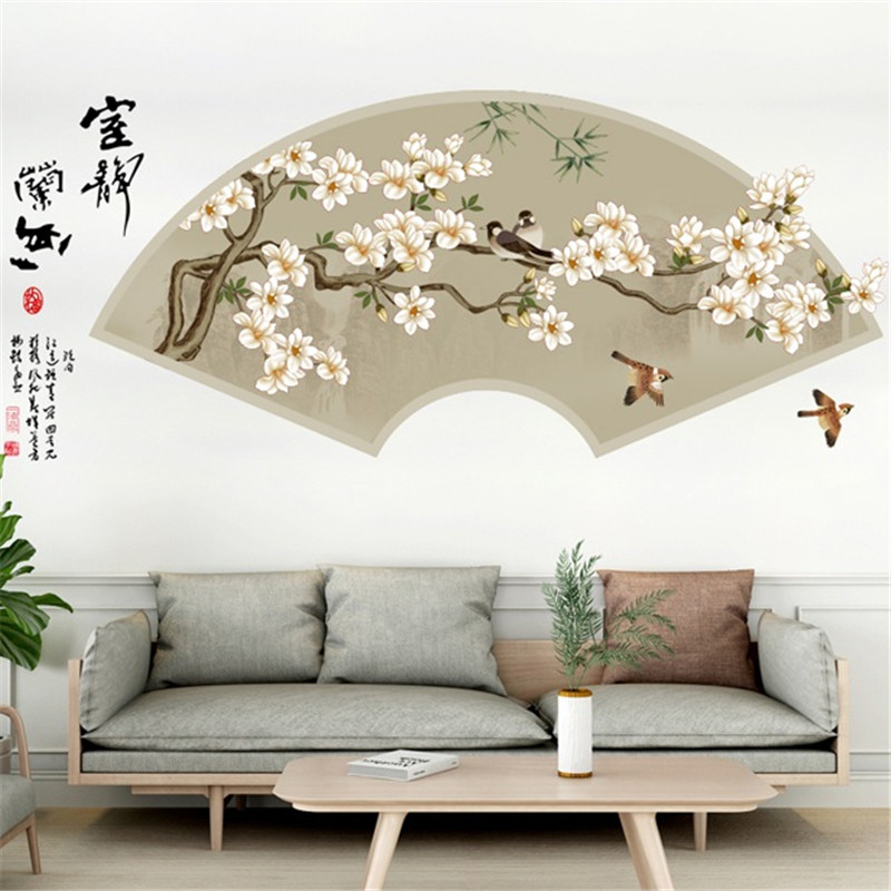 China Painting Style Wall Sticker Flower Birds Home Decor Living
