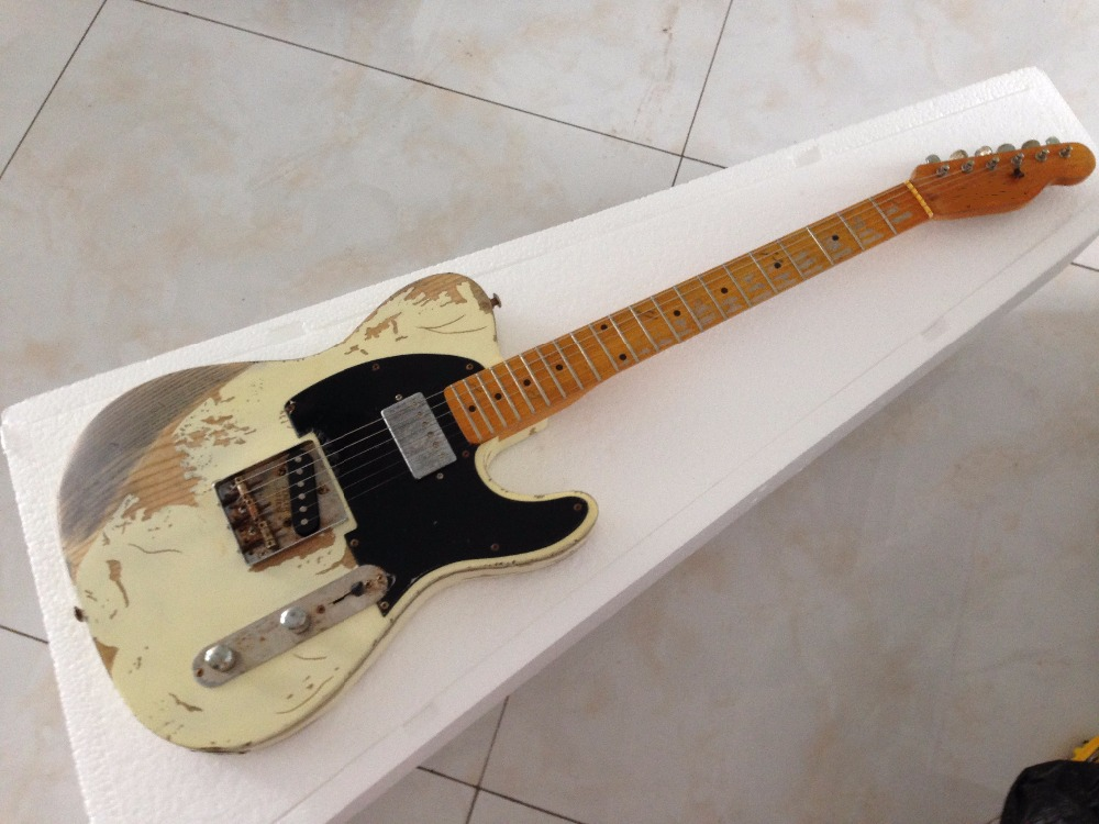 Free shipping  FD Relic handmade electric guitar  ash body cream color humbucker neck pickups  недорого