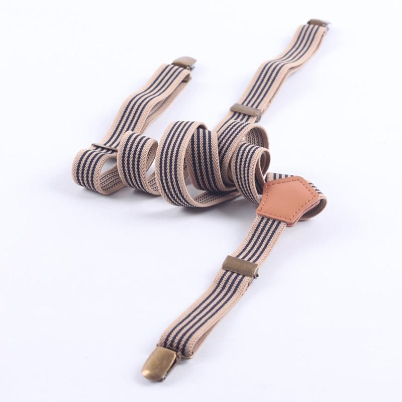 Mantieqingway Striped Unisex Adjustable Clip-on Braces Elastic Y-back PU Leather Suspenders 3 Clip Skinny Belt Strap Braces