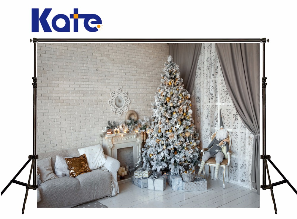 Kate Christmas Photography Backgrounds White Wood Floor Fireplace Photo Background Christmas Tree Brick Wall For Family Backdrop kate wood photography photography white brick wall backdrops gray wood floor baby backgrounds for photo shoot print cm 5674