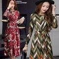 Новый 2017 весна босански-стиль цветочные печатный империя slim fit dress women dress длинным рукавом vintage dress размер m-2xl LLQ15