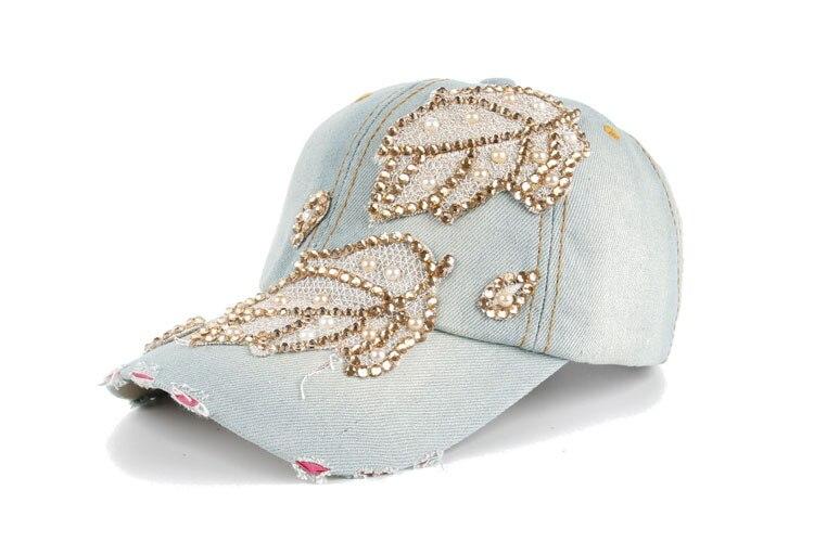 Высокое качество оптом и в розницу JoyMay шляпа Кепки Мода Досуг Стразы х/б джинсы лист Кепки S летние Бейсбол Кепки B235 - Цвет: Color no 1