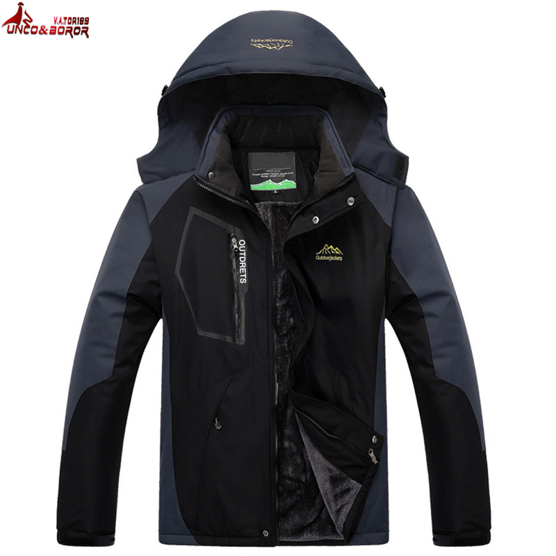 UNCO&BOROR plus size L~7XL 8XL Winter Jacket Men Thick Velvet Warm Coat Thermal Windproof coats mens military hooded jackets 2016 hot brand winter jacket men plus velvet warm wind hooded winter coat woman climbing skiing windproof jacket