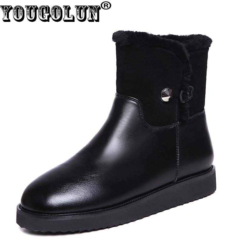 YOUGOLUN Women Snow Ankle Boots Genuine Leather 2017 Winter Flat 20 % Fur Lining Warm Shoes Black Round toe Leather Boots #Y-212 hot sale shoes women boots genuine leather women snow boots round toe flat with winter fur ankle boots cotton shoes k514