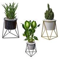 Personality Ceramic Iron Combination Pots Planter Basket Vase Flower Pot Succulent Plant Mini Cactus Desk Office