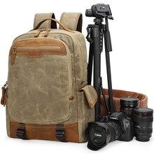 купить 2019 Retro Travel Camera Waterproof Batik Canvas + Leather Shoulders Backpack DSLR Bag fit 15.4in Laptop Tripod Carrying Case дешево