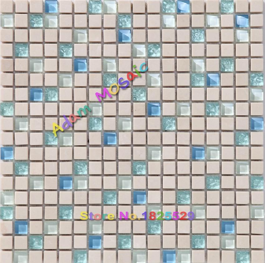 Blau Glas Fliesen Badezimmer Wandspiegel Natürliche Beige Stein Fliesen  Wände Marmor Backsplash Fliesen Ideen Glänzend U Bahn Deco In Blau Glas  Fliesen ...