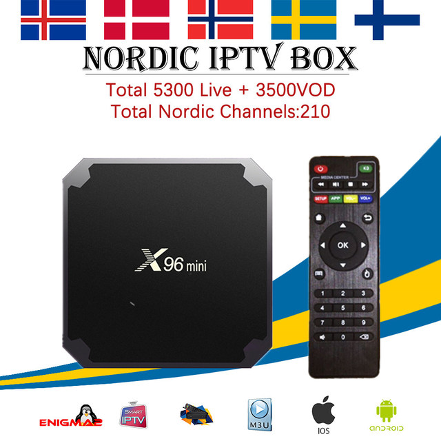 Nordic IPTV X96 mini Android 7.1 Smart TV BOX +4700 channel Nordic Europe Scandinavia Israel Arabic Canada Brazil  SET top BOX