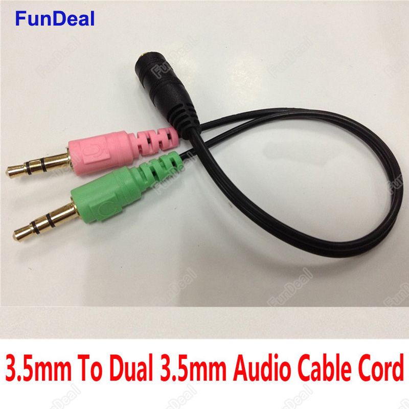 3.5mm Mini Stereo Audio Female to 2 Male Headphone Mic Y Splitter Earphone Cable Adapter For Computer Audio/ Mic / Phone Headset
