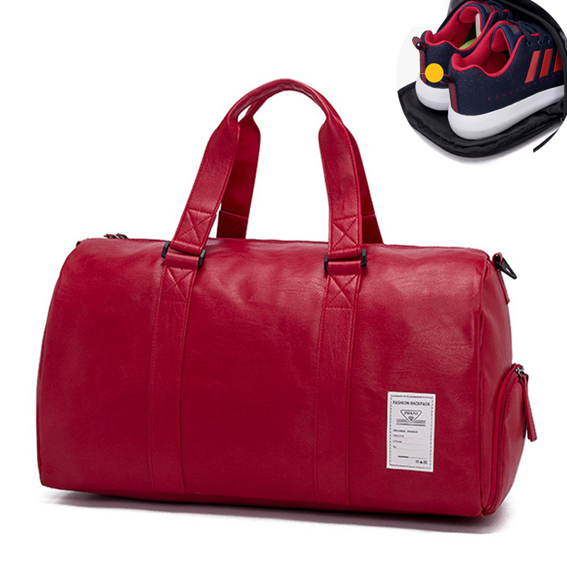 Mens PU Leather Gym Bag Male Big Sports Bag For Fitness Men Women Handbags Training Shoulder Bag With Shoes Pocket Sac
