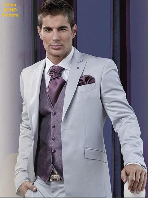 90fb84ec4206eb Men wedding suit grooming gold wedding suits One Button Peaked Lapel Grooms  Tailcoat Silver Grey Wedding Suits for Men PN1825