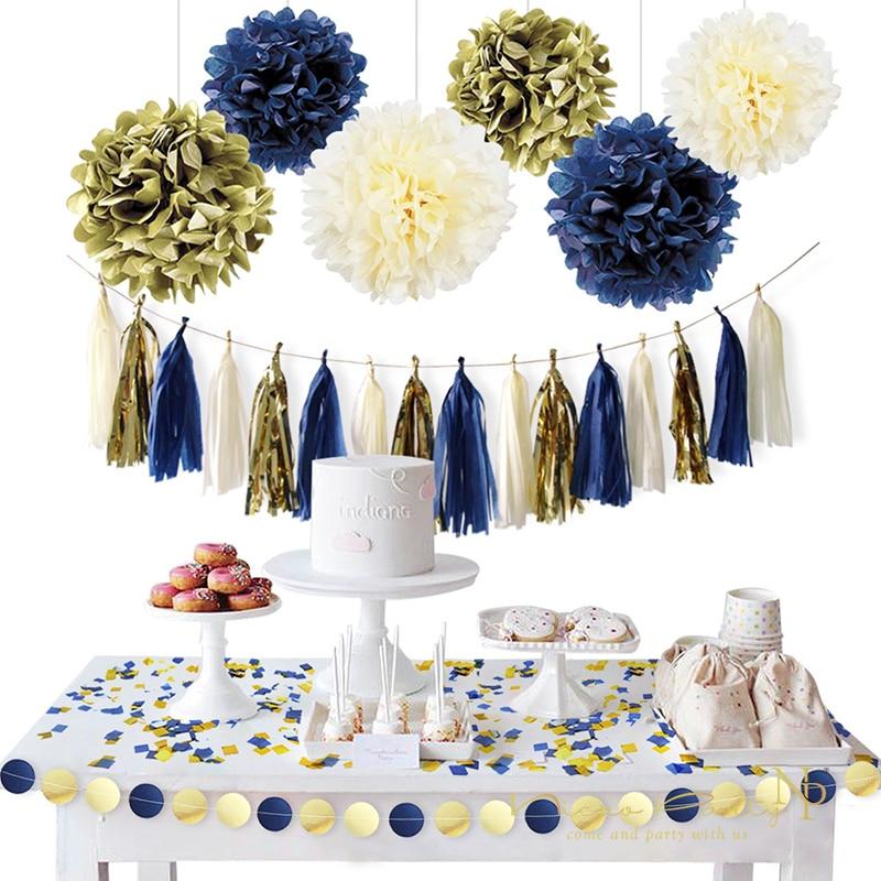 Blue And Gold Wedding Decorations: Nicro 11Pcs/Set Gold Dark Blue Paper Flower Tassel Garland