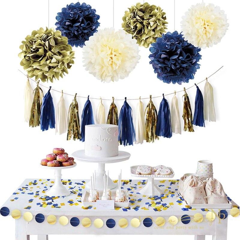 Nicro Guirlande Guirlande en papier bleu foncé, 11 pièces/ensemble en or, Confetti de papier à franges, bricolage, décoration de Dorado, # Set07