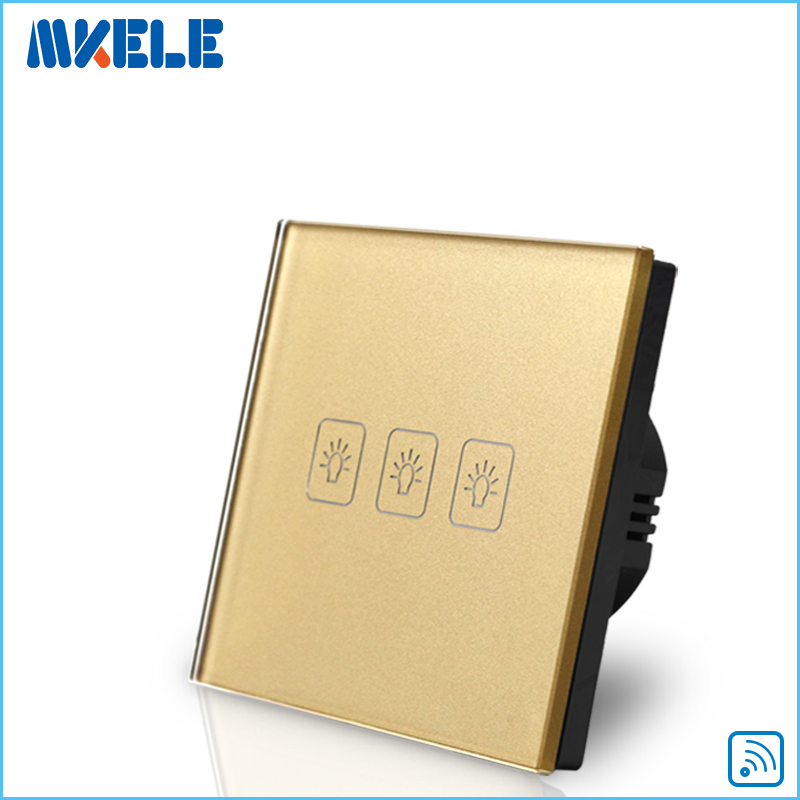 Remote Switch Wall Light  Free Shipping 3 gang 1 way Remote Control Touch Switch EU Standard Gold Crystal Glass Panel+LED smart home us au wall touch switch white crystal glass panel 1 gang 1 way power light wall touch switch used for led waterproof