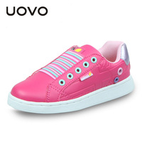 UOVO New Fashion Casual Children Shoes Hit Color Boys Shoes Flat Girls Shoes Slip On Sneakers