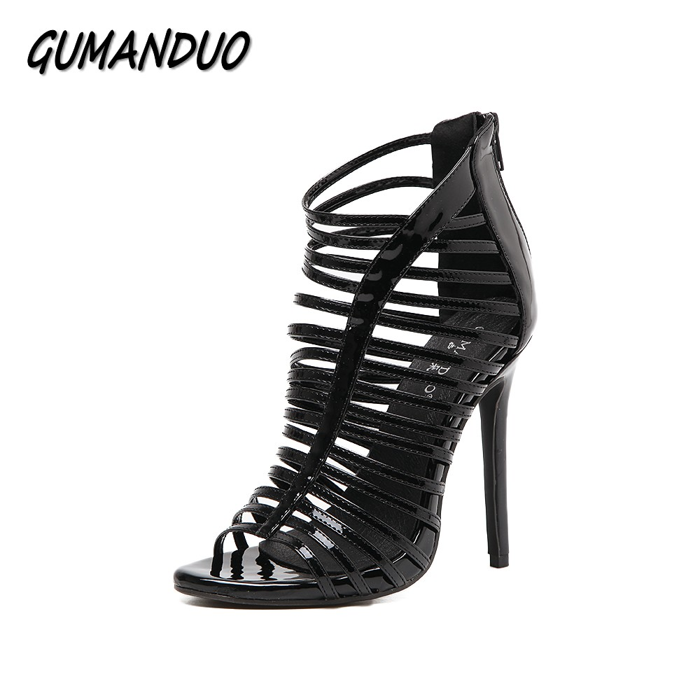 GUMANDUO New women gladiator high heels sandals shoes woman peep toe cut-outs Narrow Band ladies party wedding stilettos 35-40 brand new women platform sandals t strap rivets high heels wedding shoes woman peep toe gladiator women luxury big size shoes