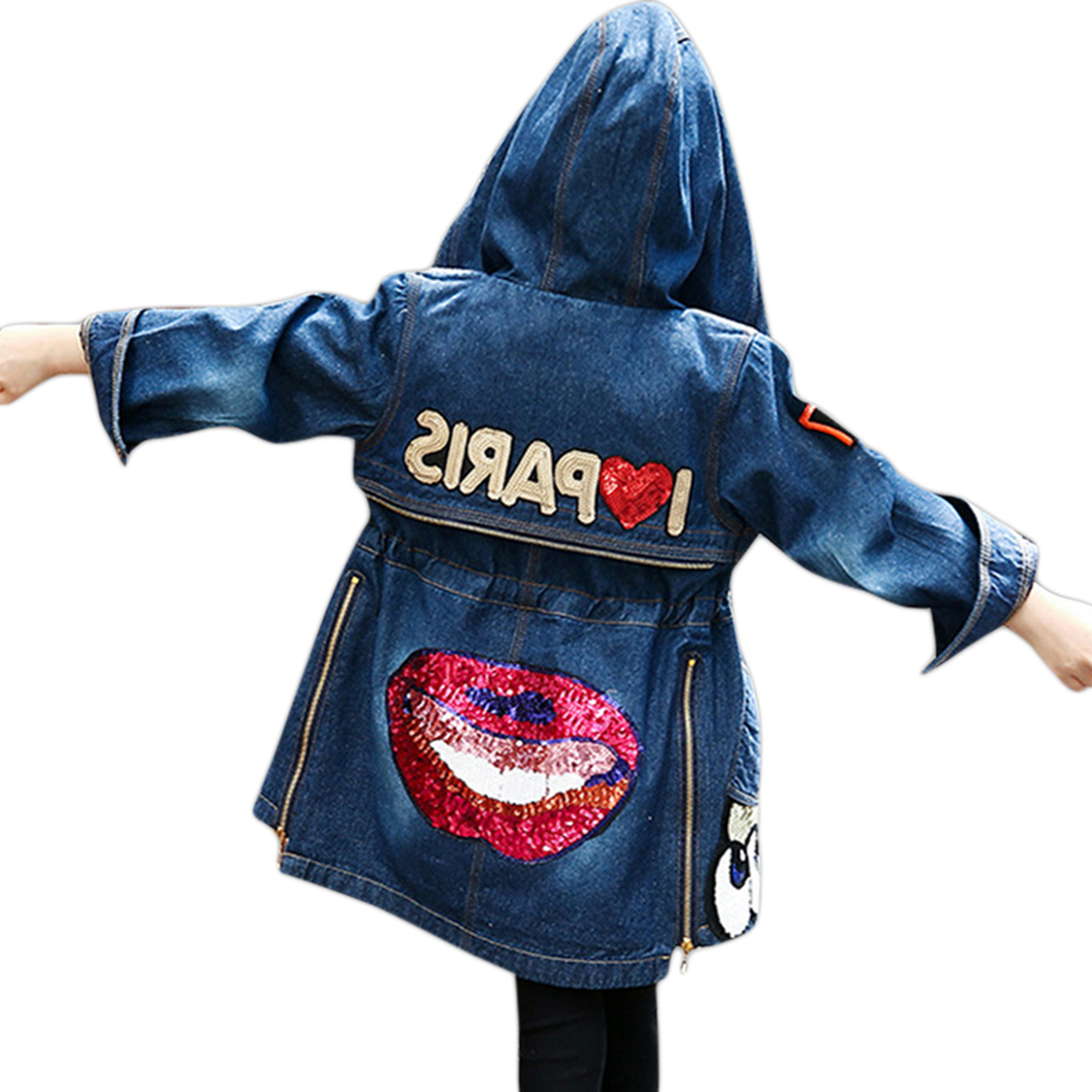 Girls Outerwear Denim Long Jacket Teenage Children Jacket With Hooded Spring Autumn Sequins Coat for 6 8 10 12 14 Years Old dark wash long denim coat jacket with hooded