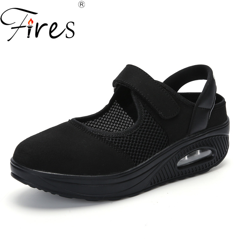 Fires Women Casual Shoes Oversize 39-42 Platform Shoes Comfortable Soft Swing Shoes Height Increasing Ladies Elevator Shoes ...