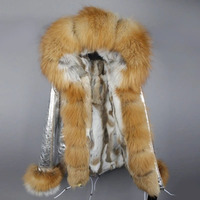 wholesale 2019 new fashion winter jacket women natural fox fur parkas real fox fur coat rabbit fur liner warm thick hooded cuffs