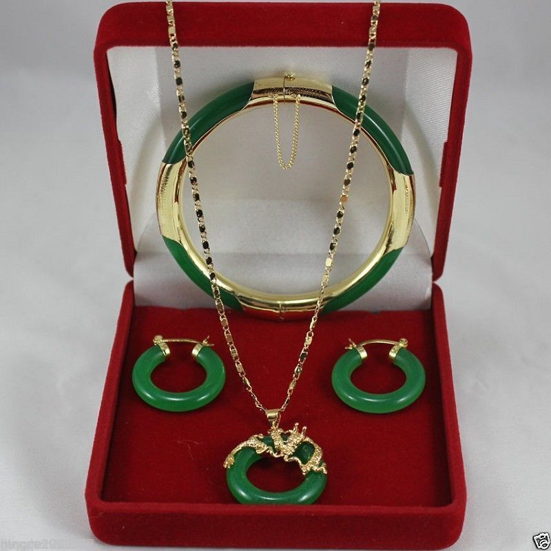 Wholesale price 16new ^^^^natural! green stone necklace pendants, earrings bracelets Fashion jewelry Set wholesale price 16new ^^^^ewellery green stone inlay zircon earring pendant ring sets