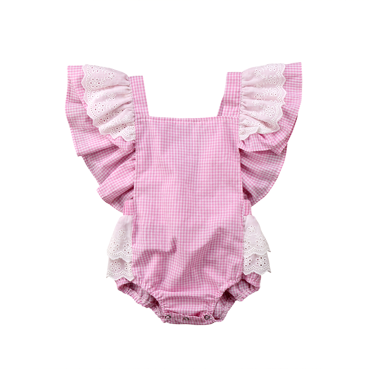 2018 Toddler Infant Baby Girls Lace Flying Sleeves Plaid