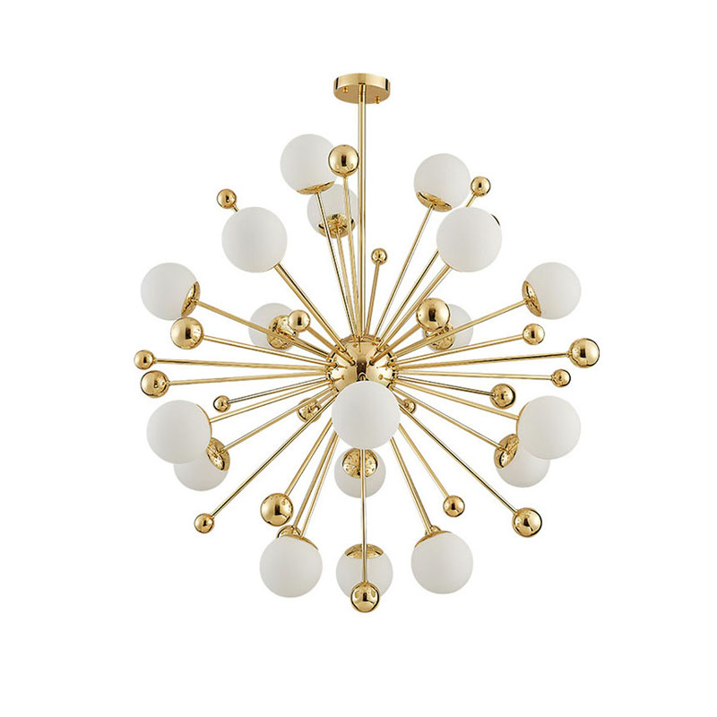 Light Filled Contemporary Living Rooms: Post Modern Hanging White Ball Pendant Lights Gold