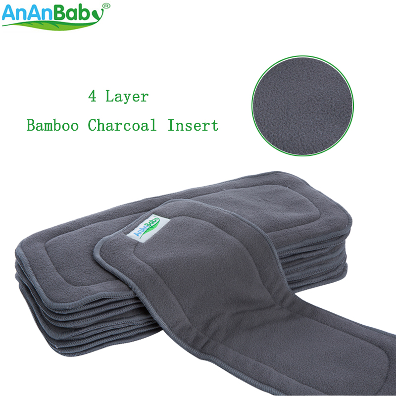 4 Layer Bamboo Charcoal Insert Cloth Diapers Inserts Nappy Changing Mat Baby Diapers