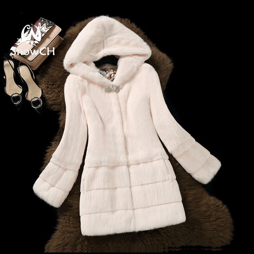 Free Shipping New Arrival Genuine Rabbit Fur Coat With Hat Women Full Pelt Rabbit Fur Jacket Winter Fur Waistcoats Big F848
