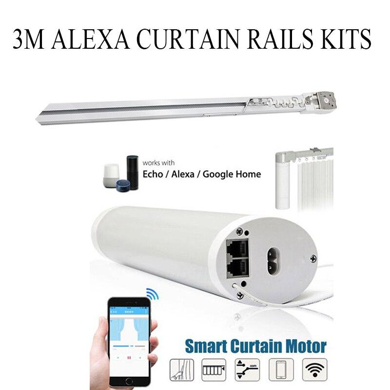 TUYA Wifi Smart Electric Curtain Motor App Smartlife Work With Echo/google/alex+3M Window Curtain Rail Track Smart Home System
