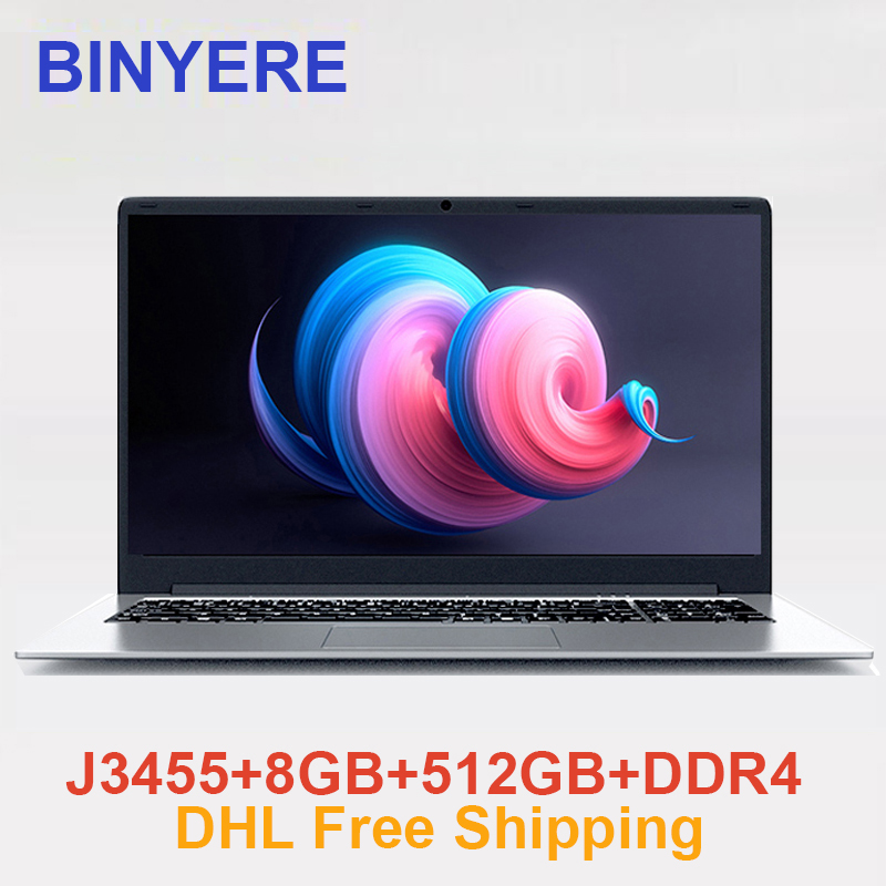 BINYEAE 737A6 15.6 Inch Laptop Windows 10 Intel J3455 Ultrabook with RAM 8GB DDR4 ROM 512GB SSD Ultra Notebook Computer With FHD