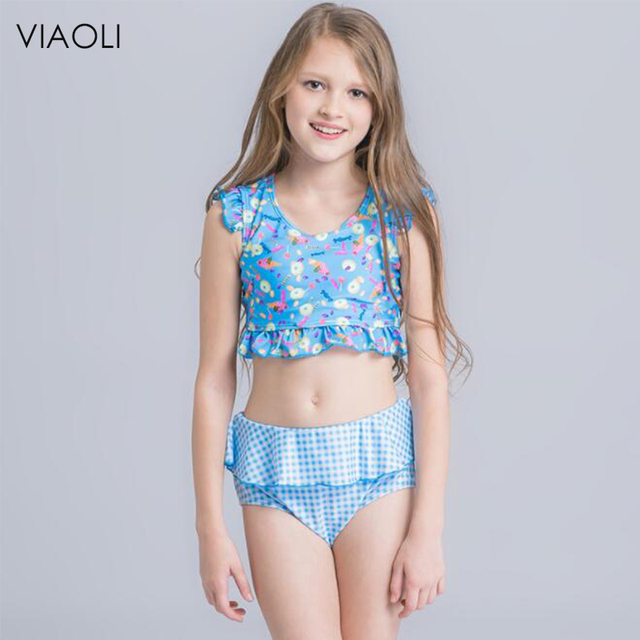 41969fb06 Girls Swimsuit Children Swimwear Big Children's Swimwear Floral Print Top  Bikini Kid Bathing Suit With Skirt