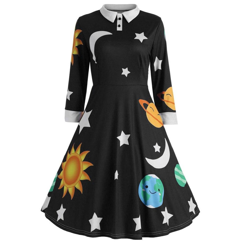 Fashion Women Dress 2019 Autumn Vintage Dresses Sun And
