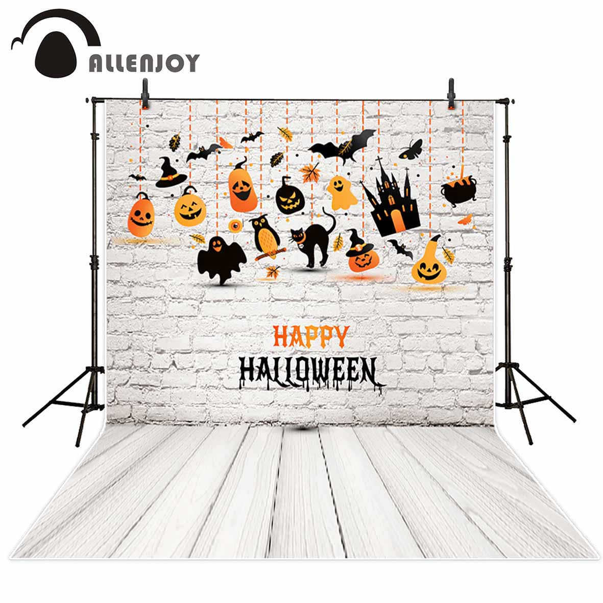 Allenjoy photography backdrop White Brick Wall Cartoon Child Halloween background original design for studio fotografia props allenjoy background for photo studio full moon spider black cat pumpkin halloween backdrop newborn original design fantasy props