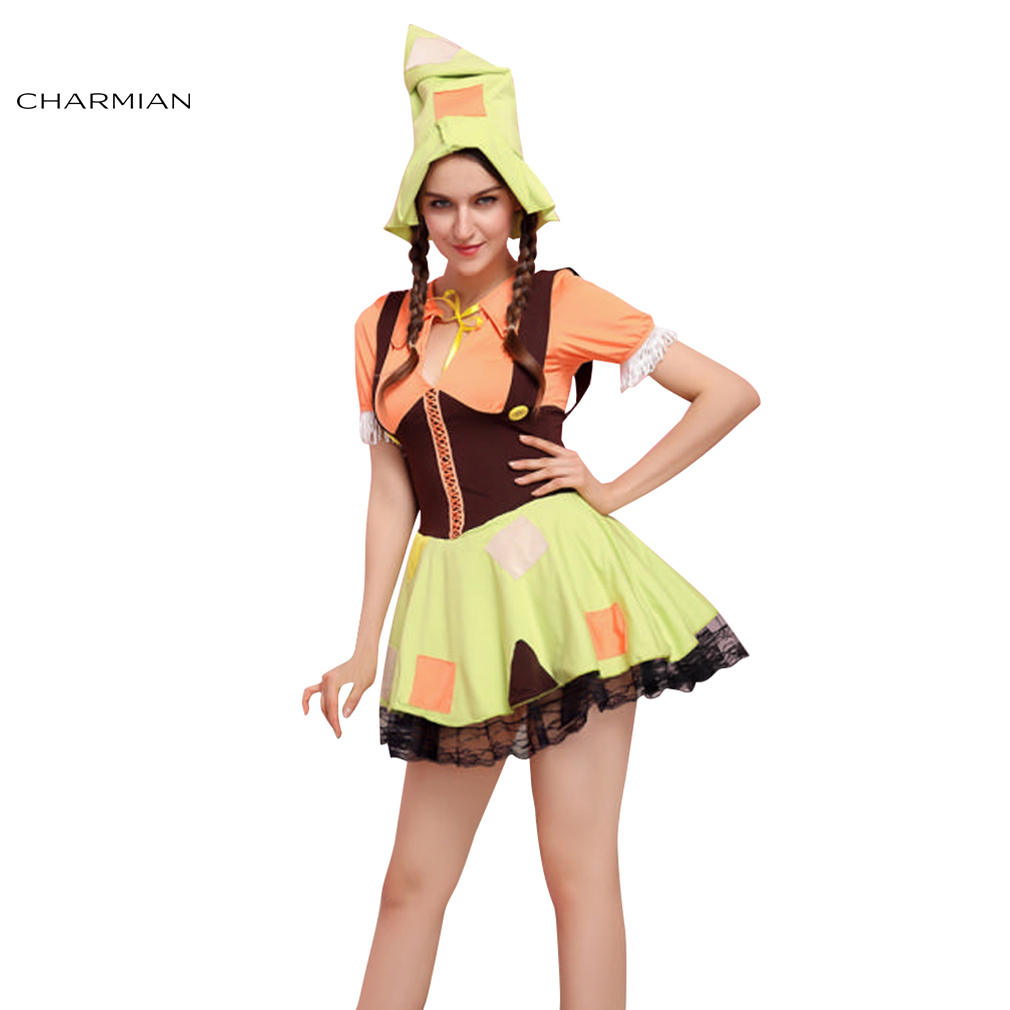 Charmian Cute Scarecrow Cosplay Costume for Women Halloween Anime Adult Cosplay Fancy Dress Fantasias Costume Party Clothing