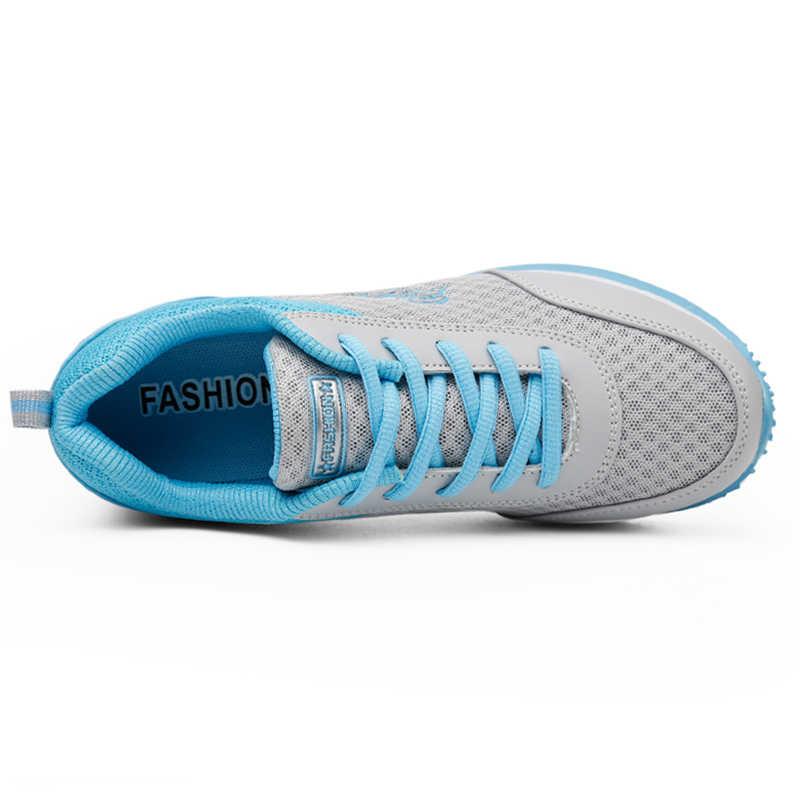 2019 Giày Người Phụ Nữ Trắng Nữ Giày Sneaker Lưới Thoáng Khí thời trang Nữ Sneakers Nữ Chun Giày Sneakers sapato Feminino