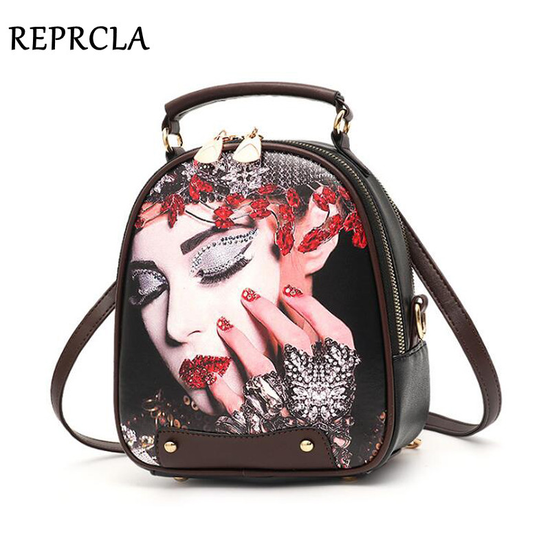 REPRCLA Multi-Function Women Backpack Fashion Shoulder Bag Color Printing PU Leather Female Small Backpacks High Quality