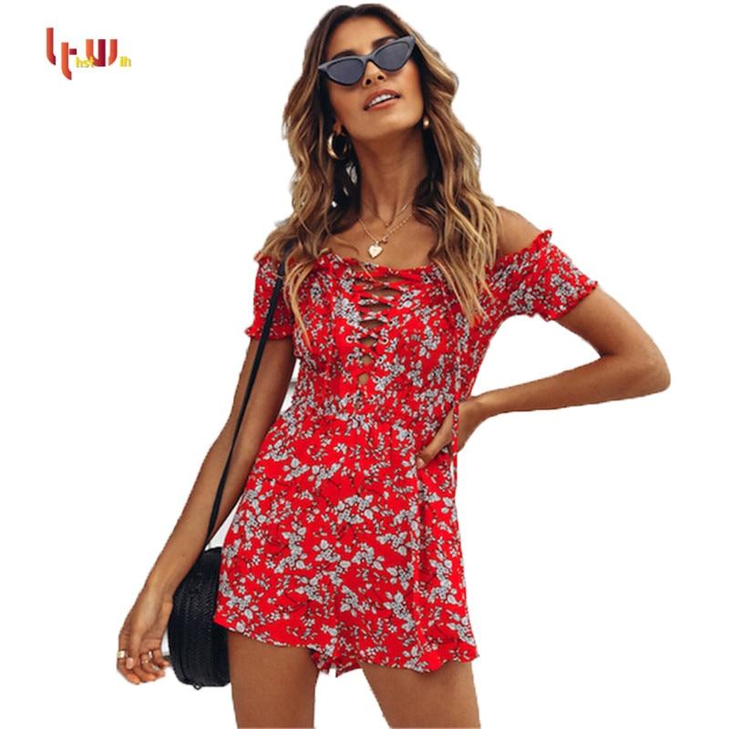 US Women Fashion Slash Neck Off Shoulder Floral Summer Beach Short  Jumpsuit New