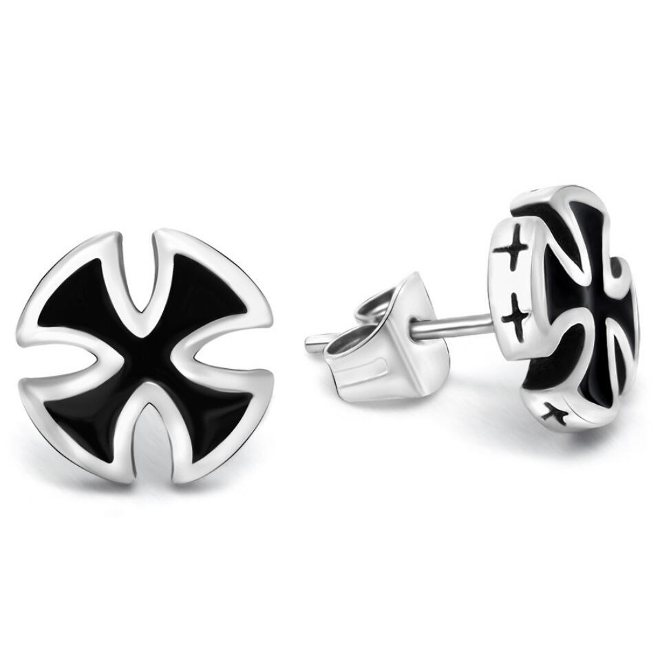 Top Selling Personlized Design Unisex Black Cross With Stainless Steel  Earring For Punk Boy Or Girl