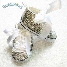 Bling nouveau né personnalisé pour acheteur à la main infantile baptême arc magnifique paillettes fabuleux sapatos étincelle bébé premiers marcheurs
