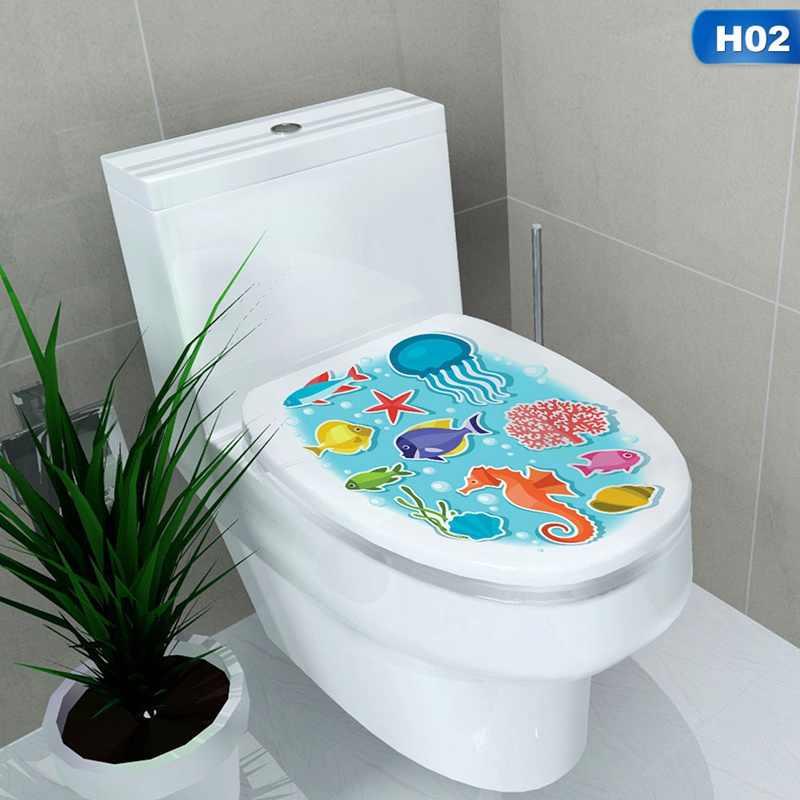 ملصقات حمام متعددة الأنماط على المرحاض ملصقات جدارية لتزيين المنزل مضادة للماء ملصق حائط Pegatinas De Pared