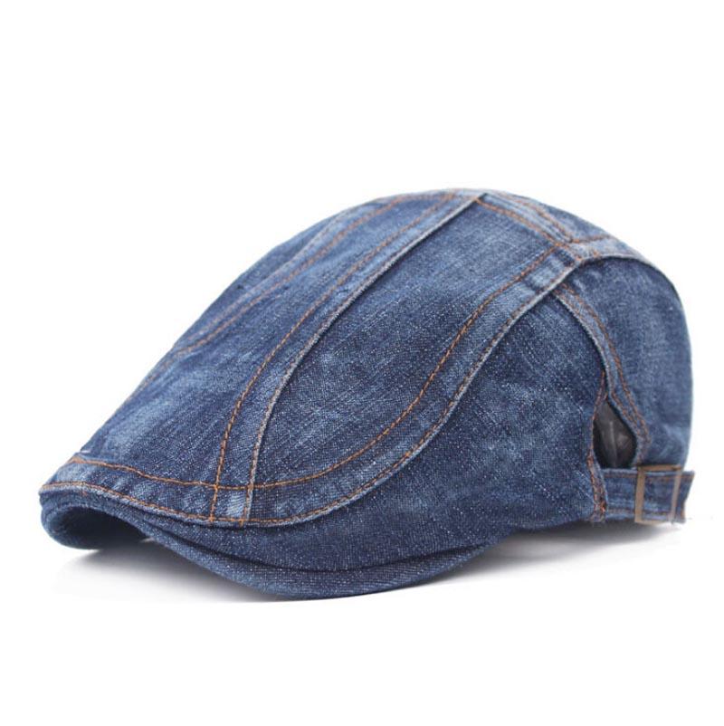 Adult Unisex Beret Adjustable Patchwork Denim Caps Duckbill Newsboy Hat for Men Woman cs-129