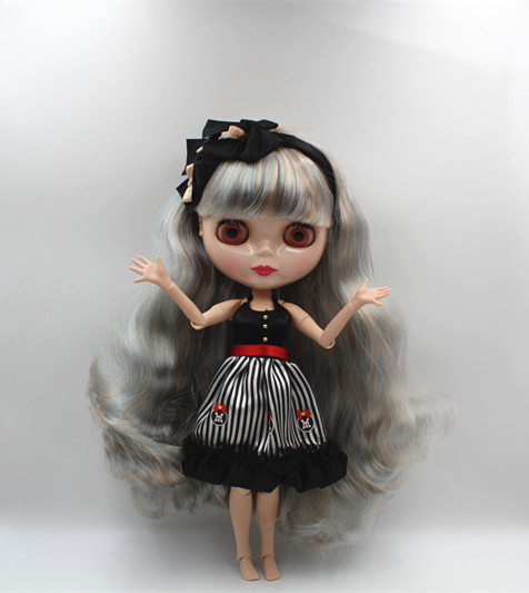 Blygirl Blyth doll Gray color mixed bang curly hair nude doll joint body 19 joint DIY doll can change makeup